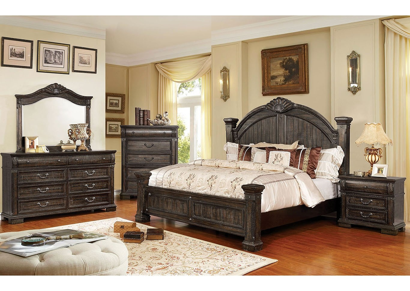 Genevieve Bedroom Set In Distressed Walnut With Poster Bed