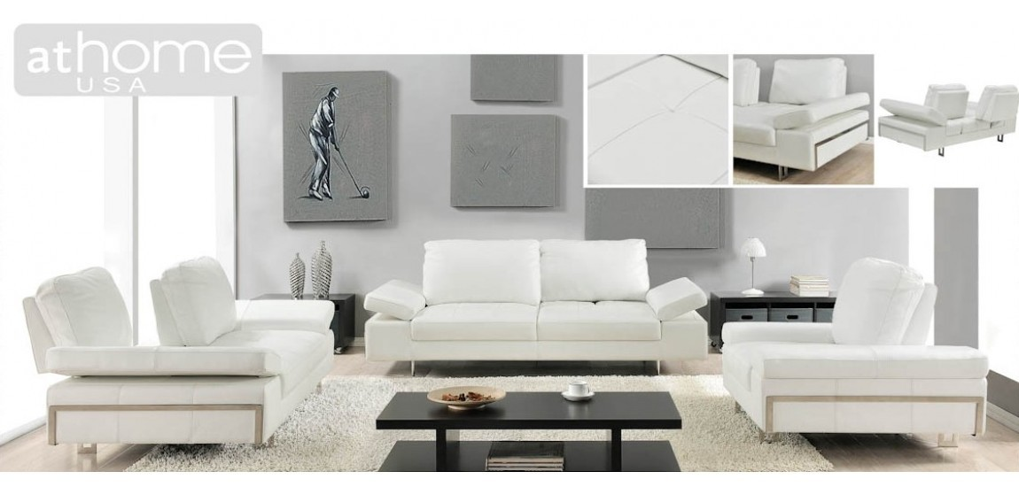 Gia Living Room Set in White Leather and Sliding Backs