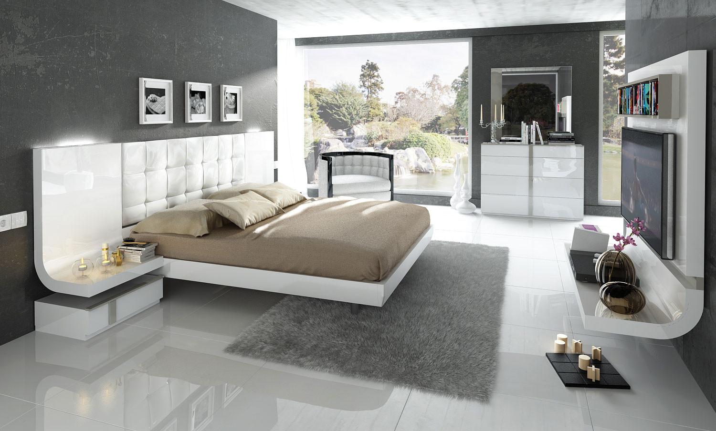 ESF Granada Modern Bedroom Set in White Lacquer Finish