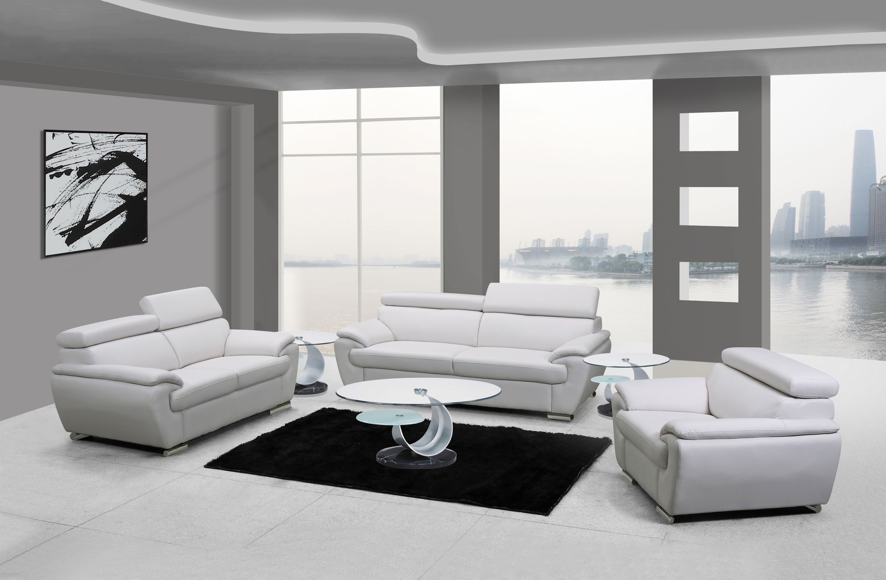 4571 Modern Living Room Set in White Leather by United