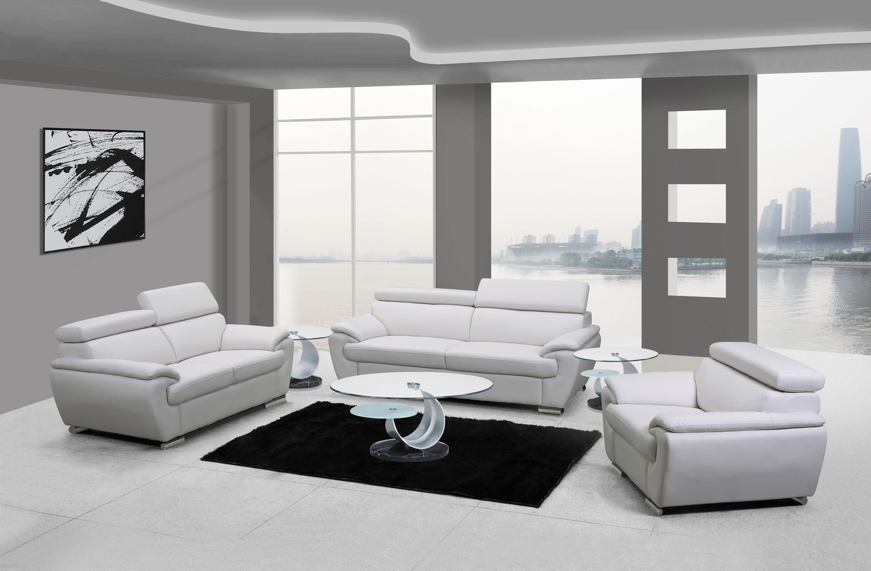 4571 Modern Living Room Set In White, White Leather Living Room Set