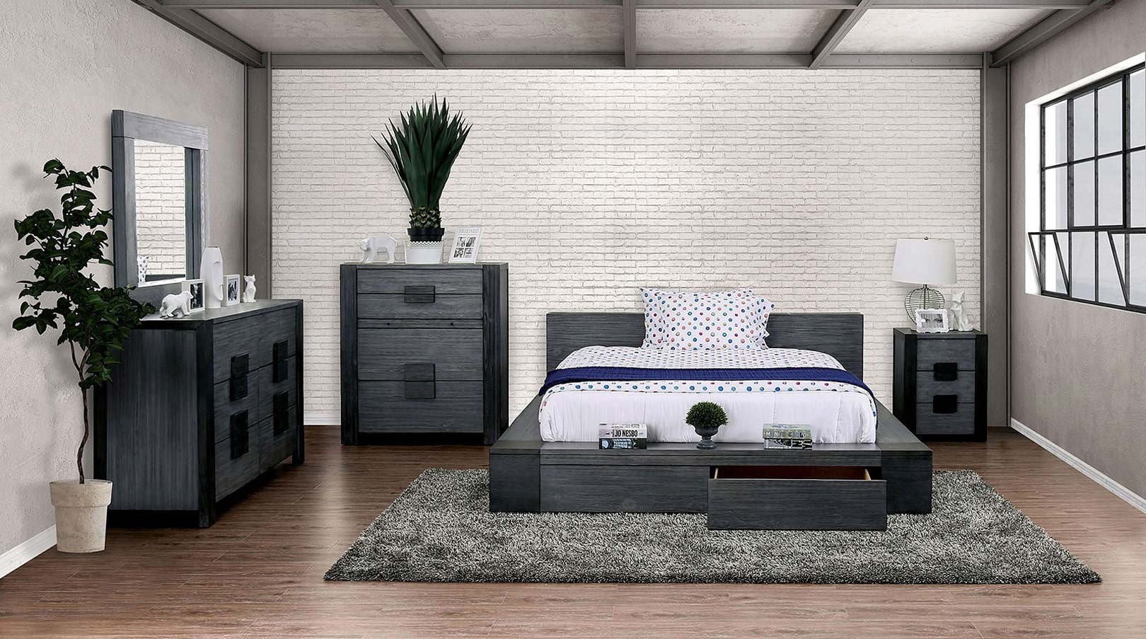 Janeiro Bedroom Set In Rustic Gray And Black By Furniture Of America