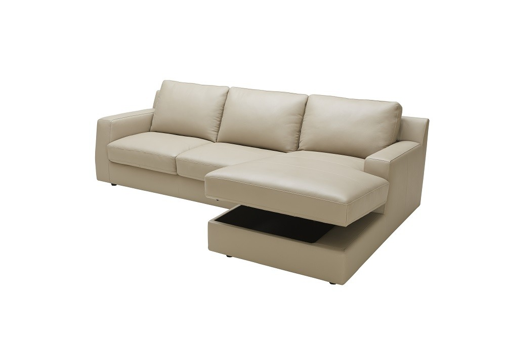 Jenny Sectional Sofa Bed in Beige Italian Leather