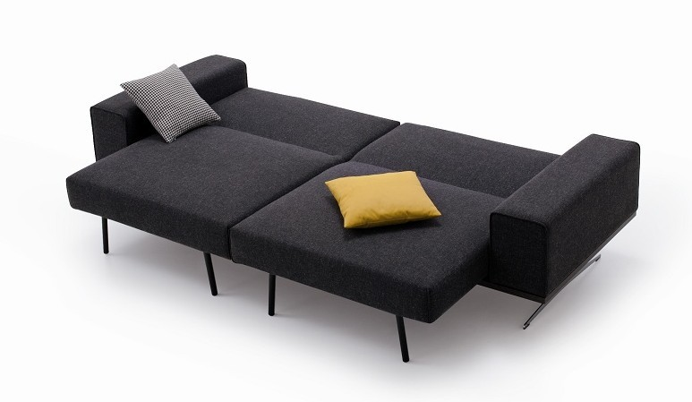 Chenille Fabric Modern Long Comfortable Sofa Bed K56