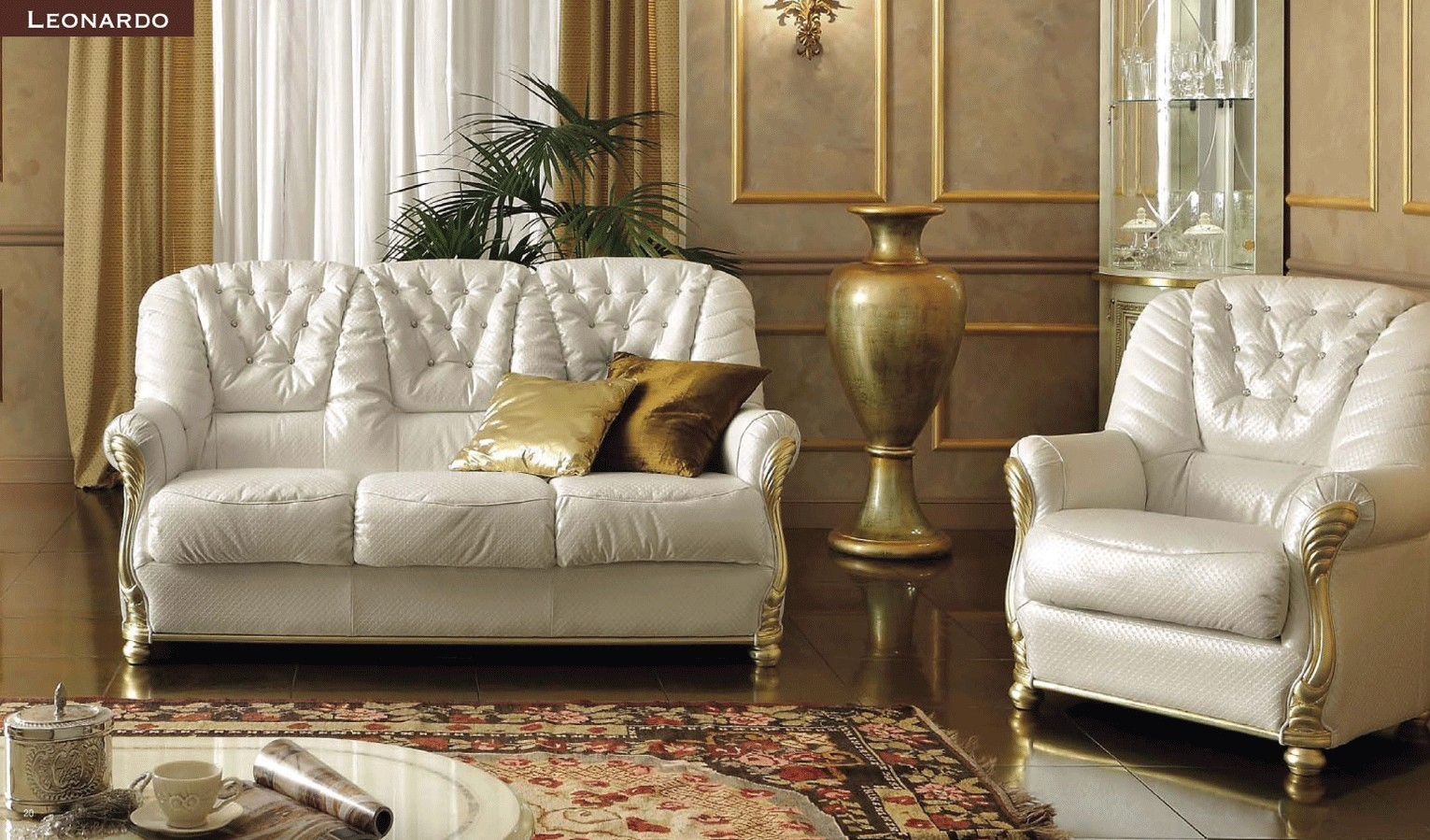 Leonardo Italian Living Room Set with Swarovski Crystals