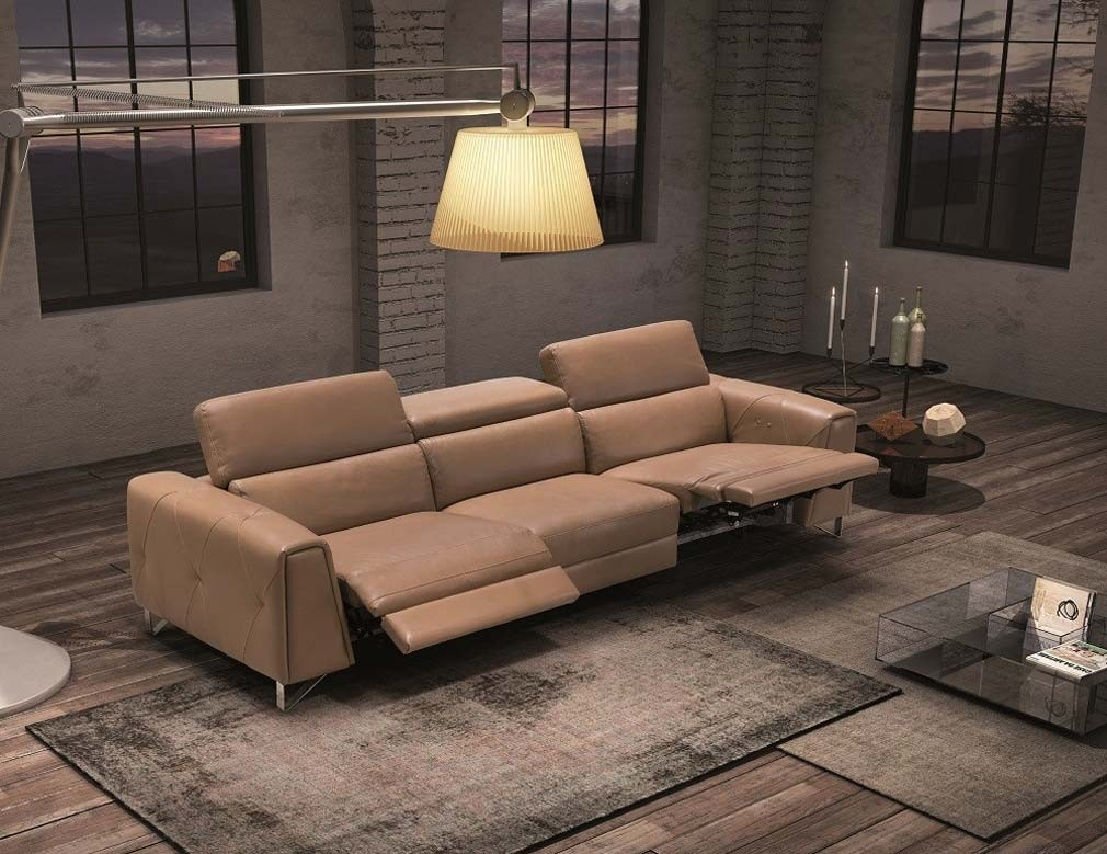 Magic Sofa with Power Recliners in Italian Leather