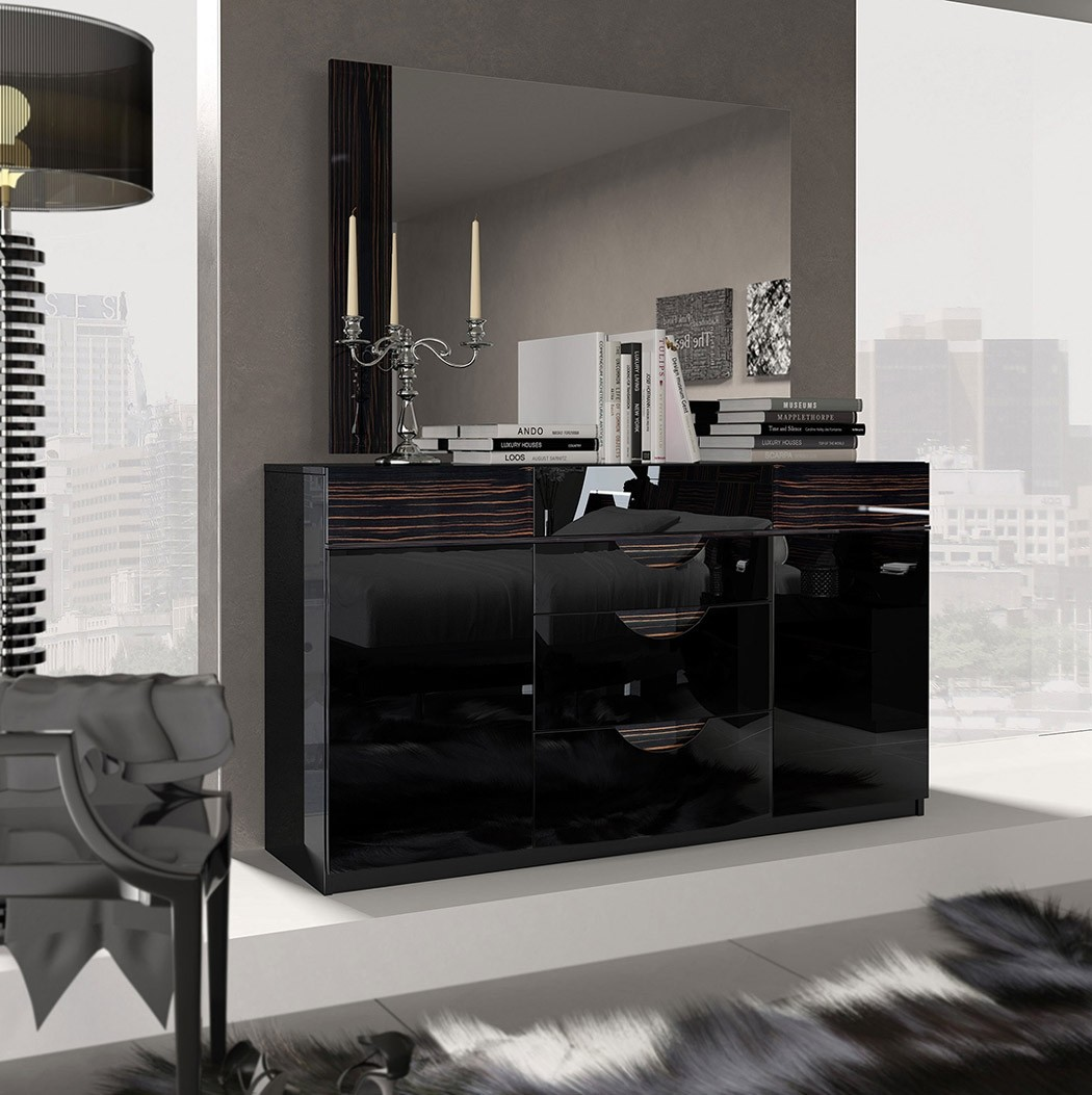 ESF Marbella Bedroom Set in Black Lacquer Made in Spain