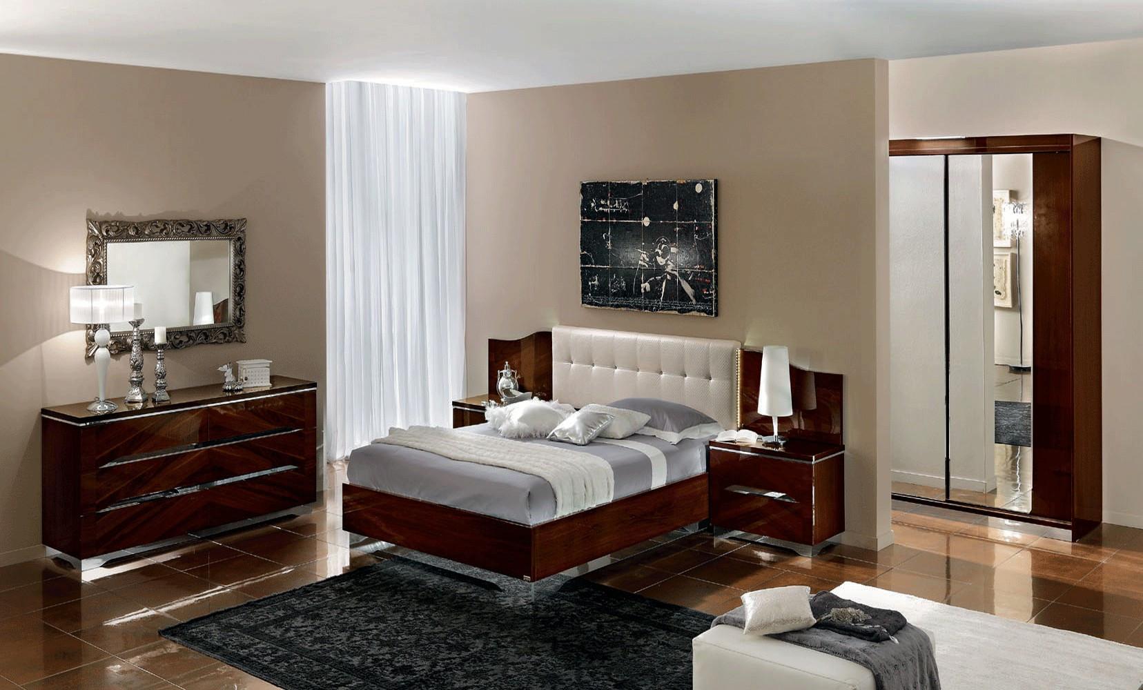 Matrix Italian Bedroom Set In Cherry Lacquer Finish
