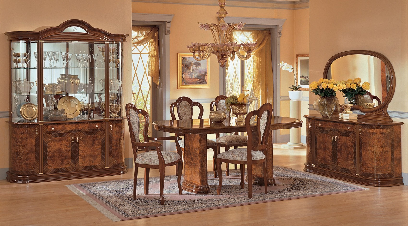 Milady Italian Dining Room Set In Brown Lacquer Finish