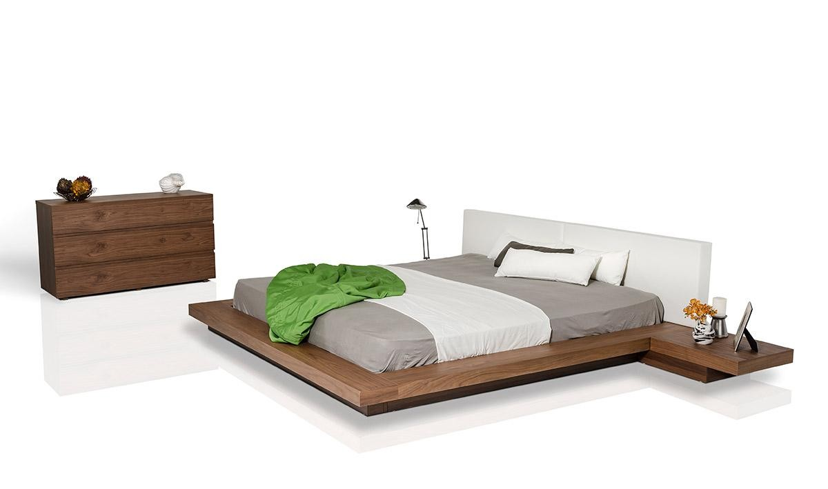 Opal Japanese Style Platform Bed In Walnut Finish
