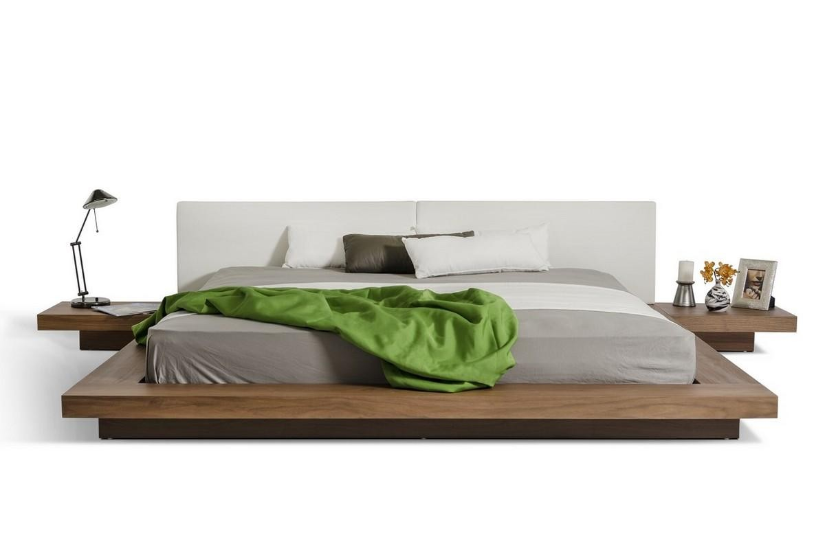 Picture of: Opal Platform Bed In Walnut Wood And White Finish By Modrest
