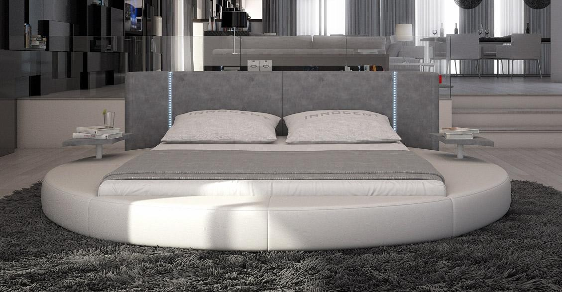 Modrest Rotondo Modern Round Bed In Grey Leather Led Lights