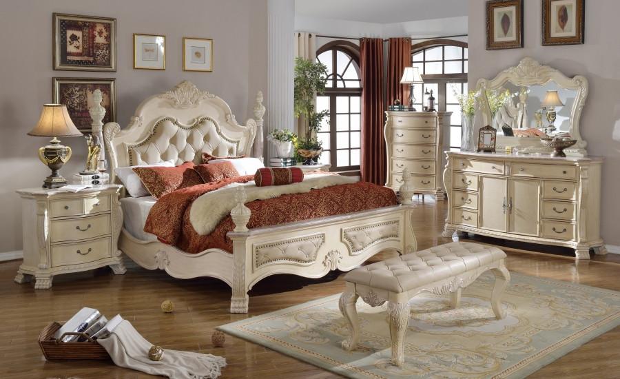 Monaco Marble Tops Bedroom Set In Antique White