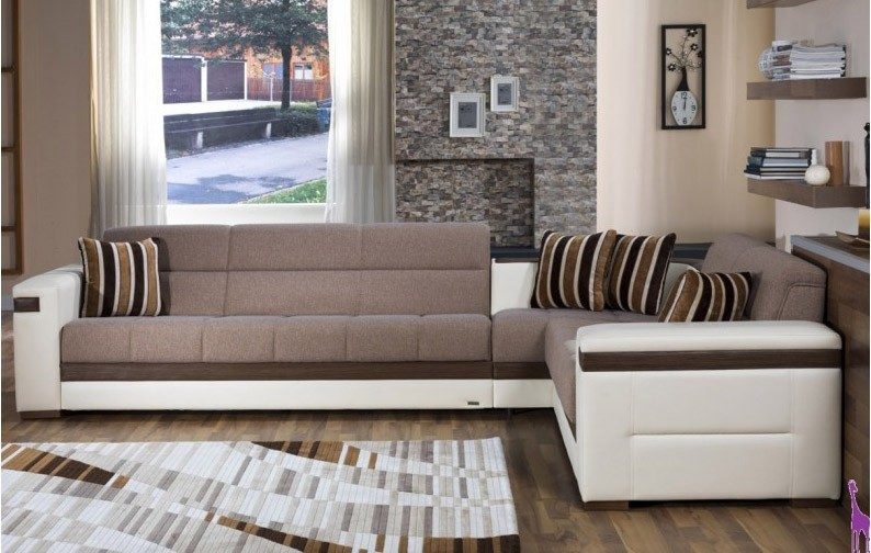 Sunset Moon Sectional Sofa Bed In Platin Mustard Fabric