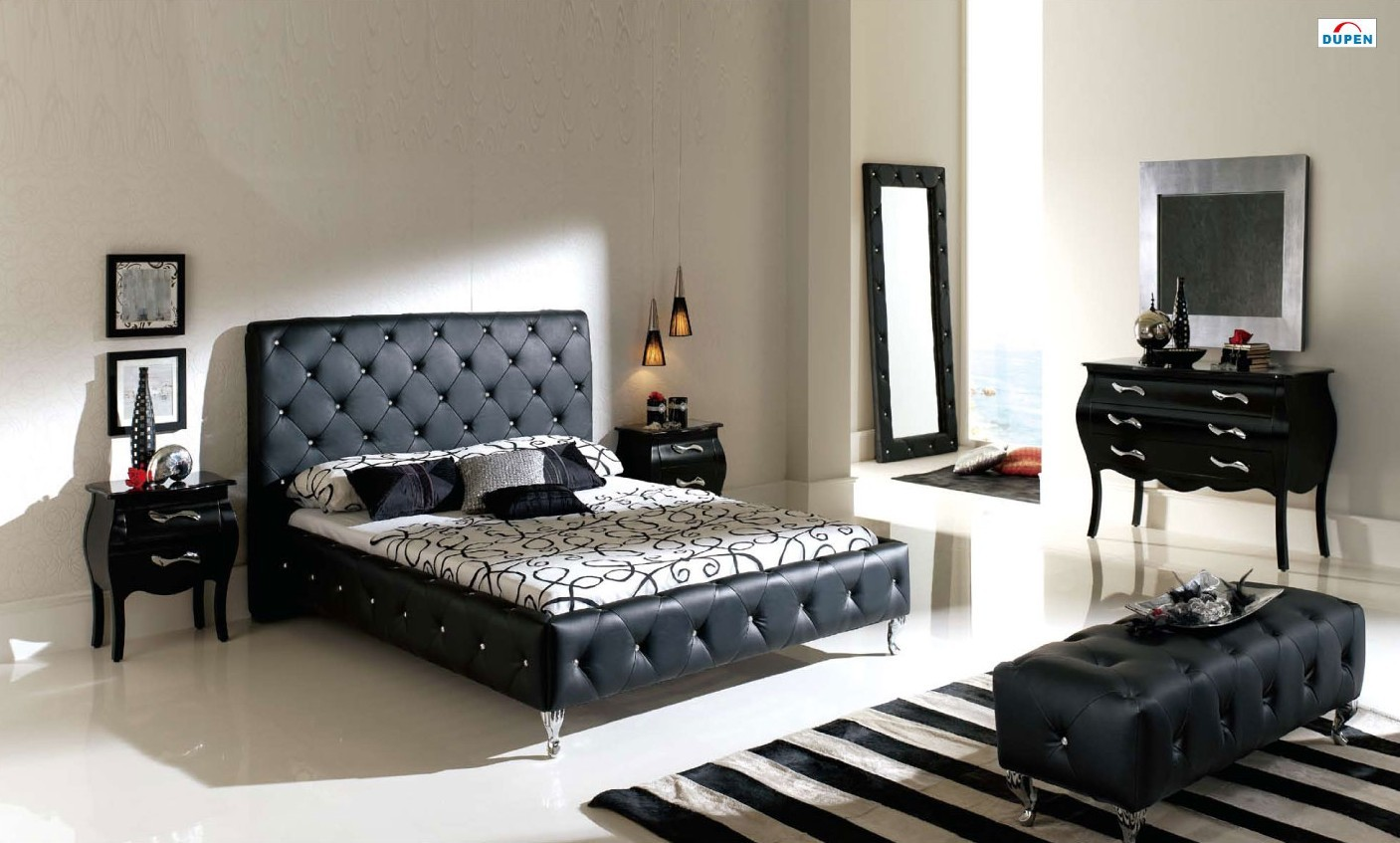 Esf Nelly Bedroom Set In Black Leather Made In Spain By Dupen