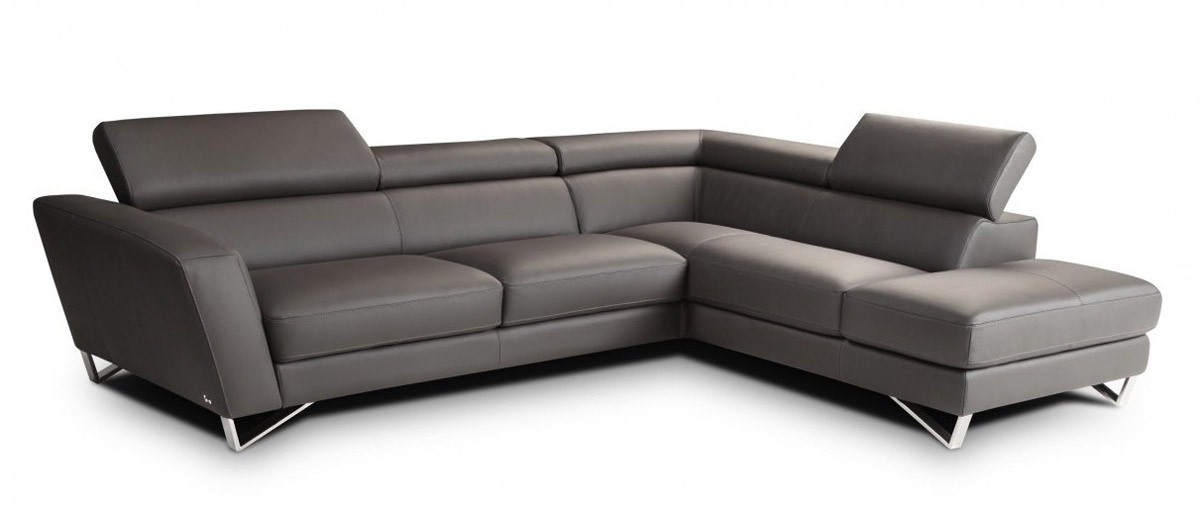 Nicoletti Sparta Sectional Sofa In Grey Italian Leather