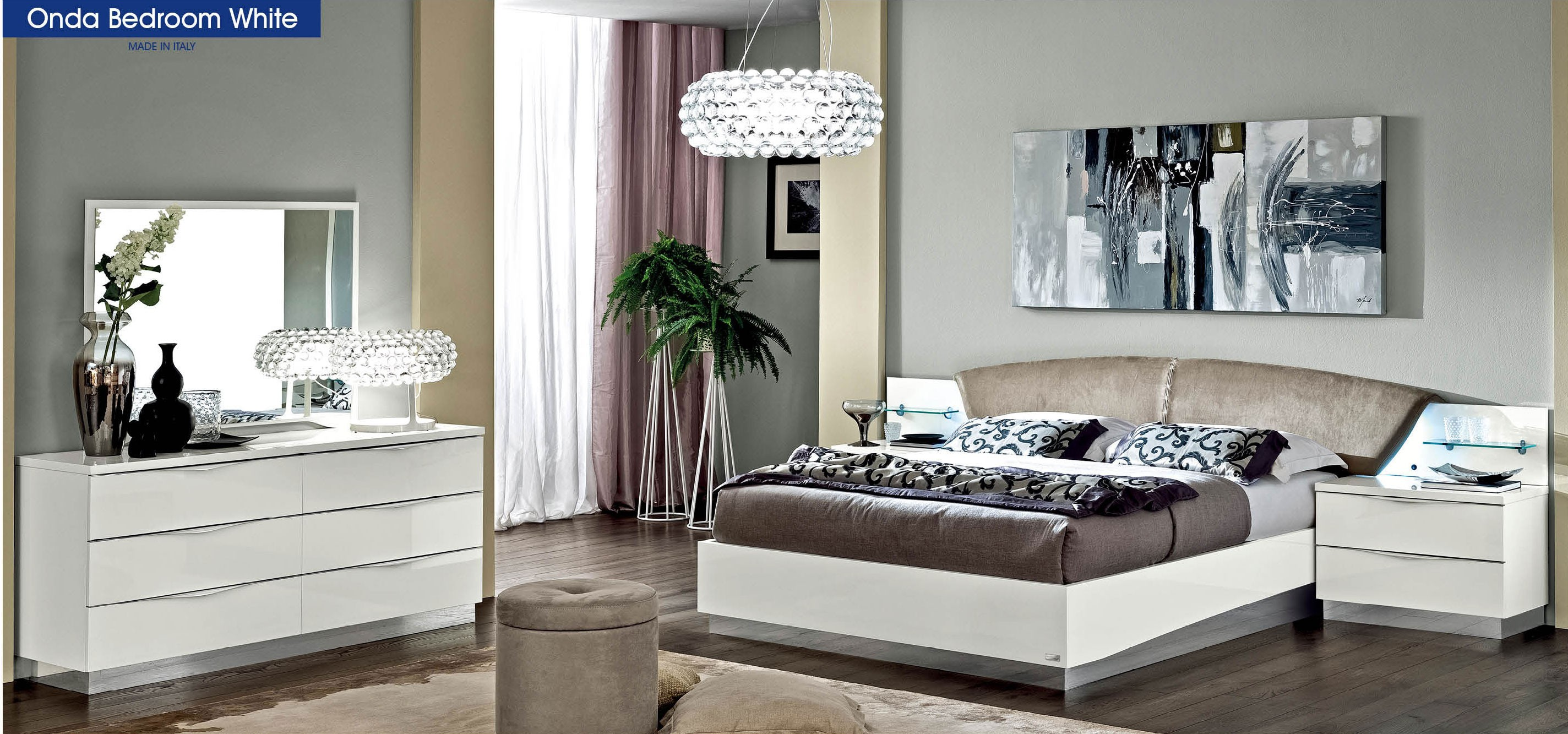 ESF Onda Italian Bedroom Set in White Lacquer by Camelgroup