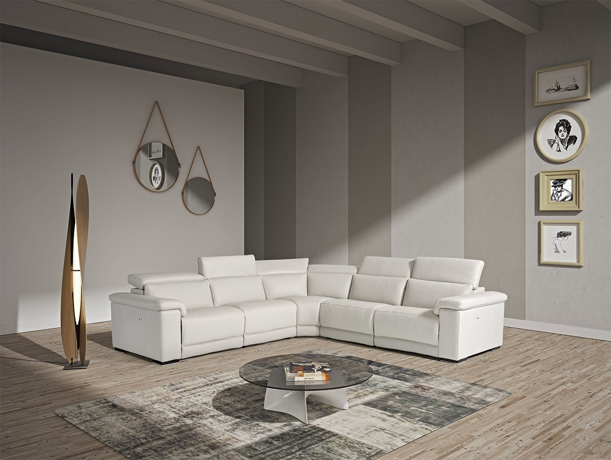 Estro Salotti Palinuro Reclining Sectional Sofa In White Leather