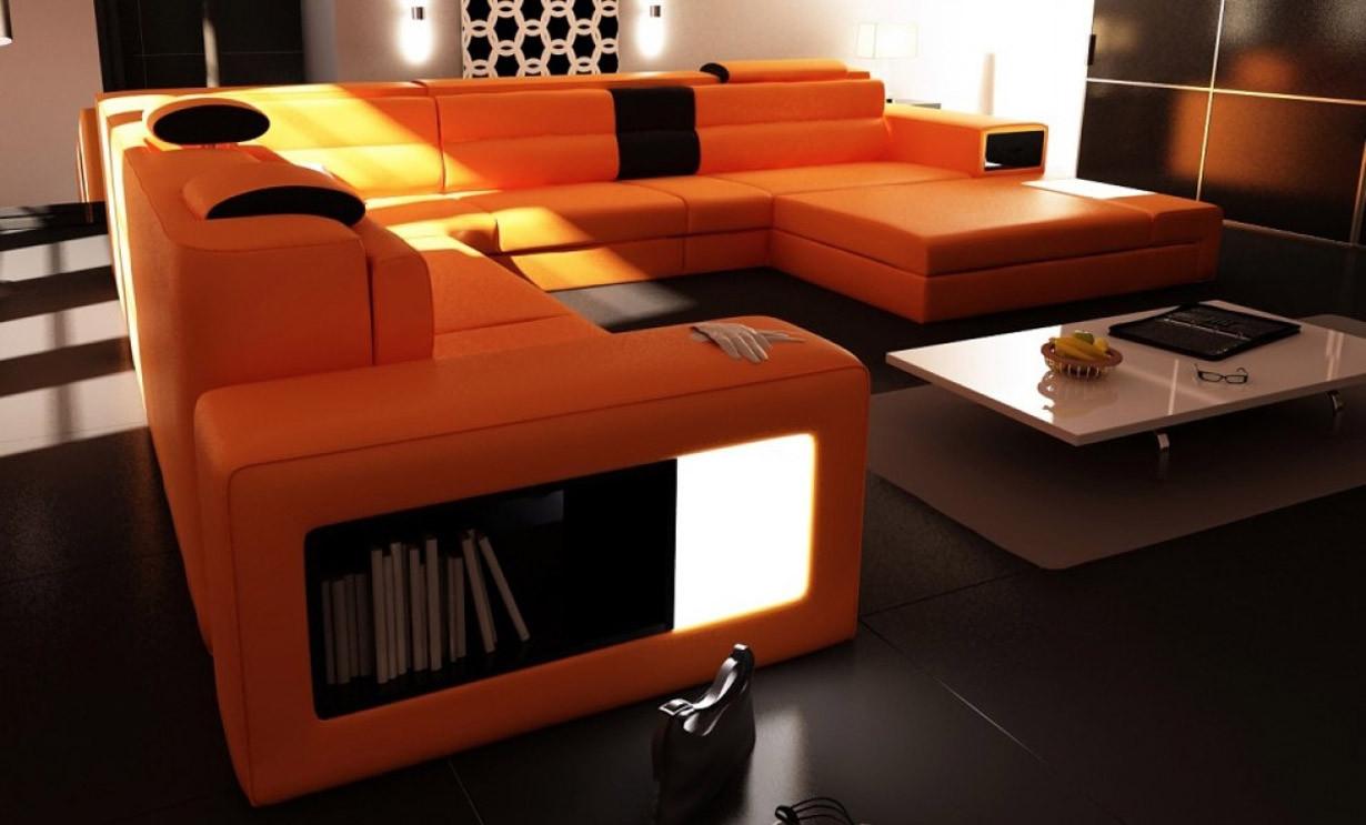Divani Casa Polaris Large Sectional Sofa in Orange Leather