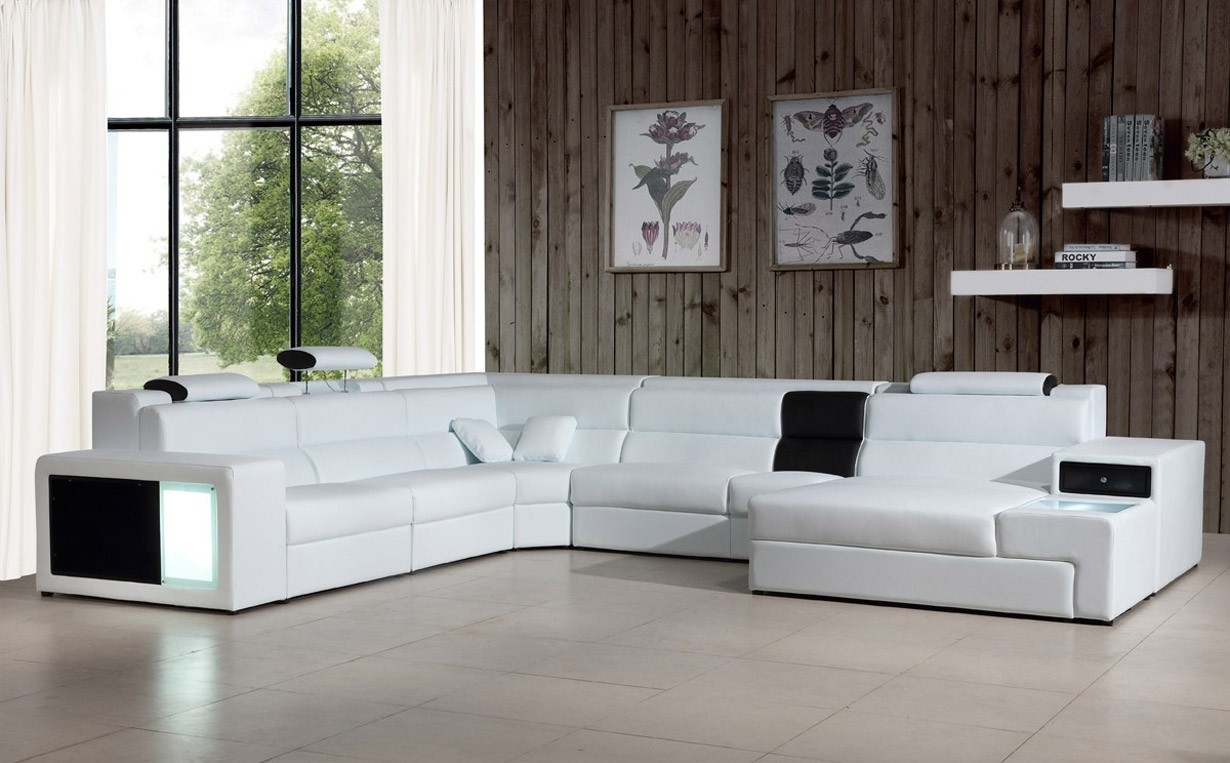 Divani Casa Polaris Large Sectional Sofa in White Leather