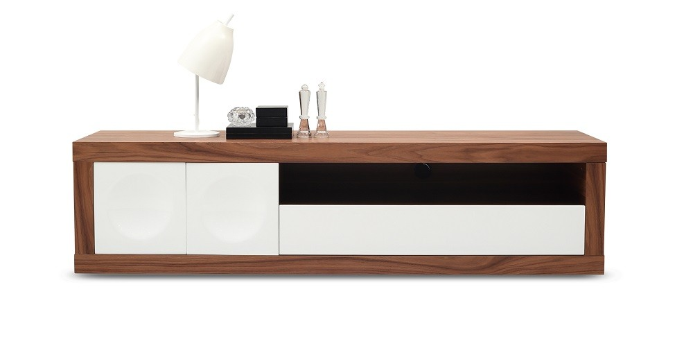 Prato Tv Stand In Walnut Wood And White Finish By J M