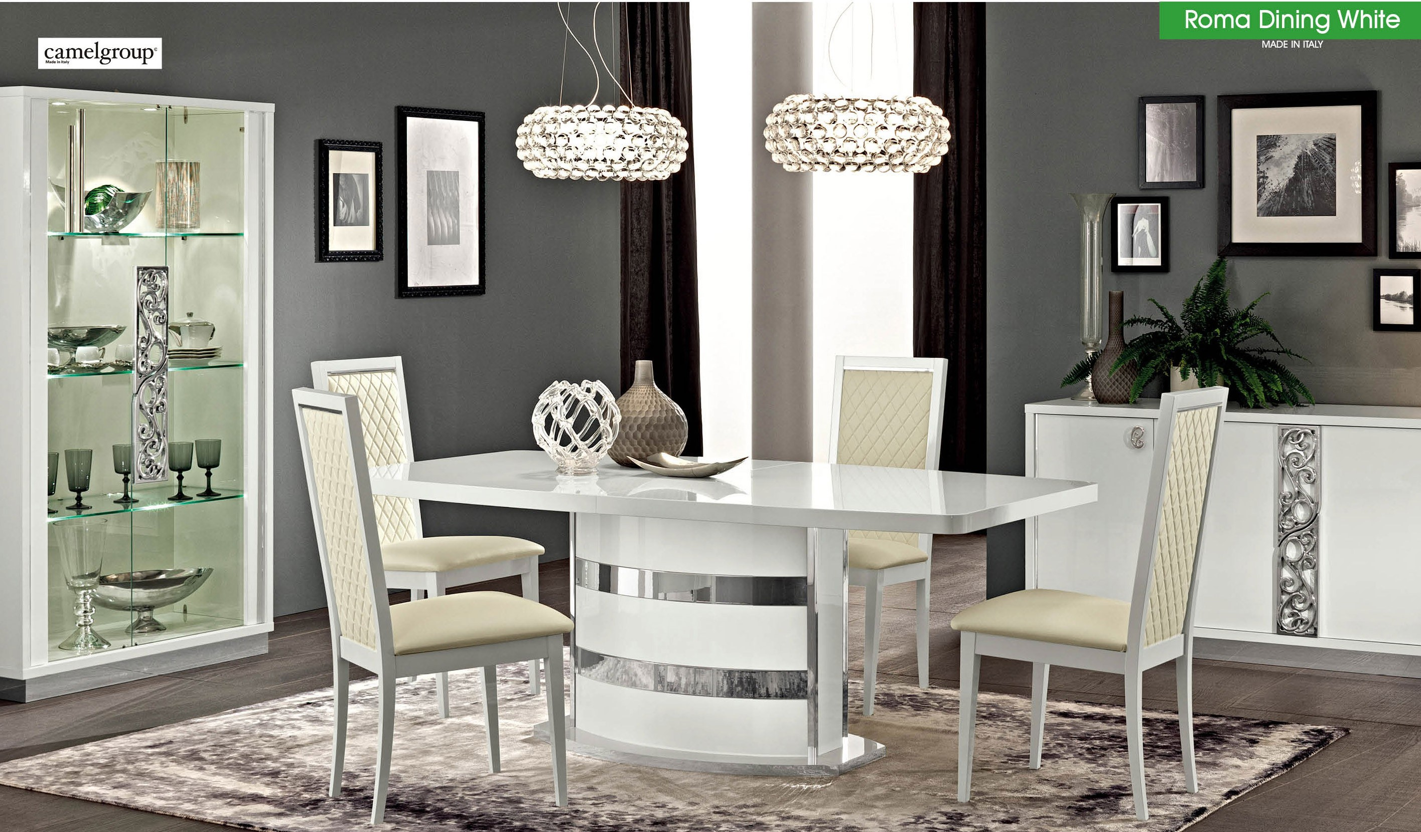 italian lacquer dining room furniture | Roma Italian Dining Room Set in White Lacquer Finish