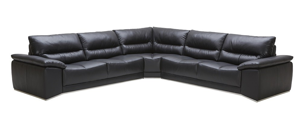 J M Furniture Romeo Sectional Sofa In Black Leather