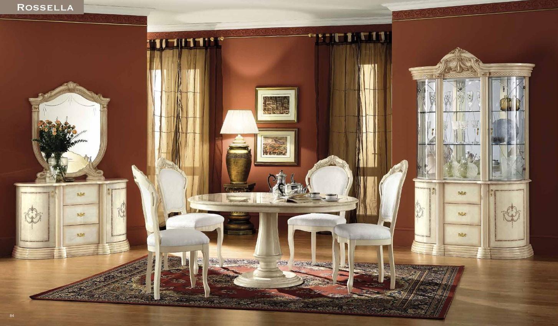 Rosella Cream Classic Italian Dining Room Furniture Set