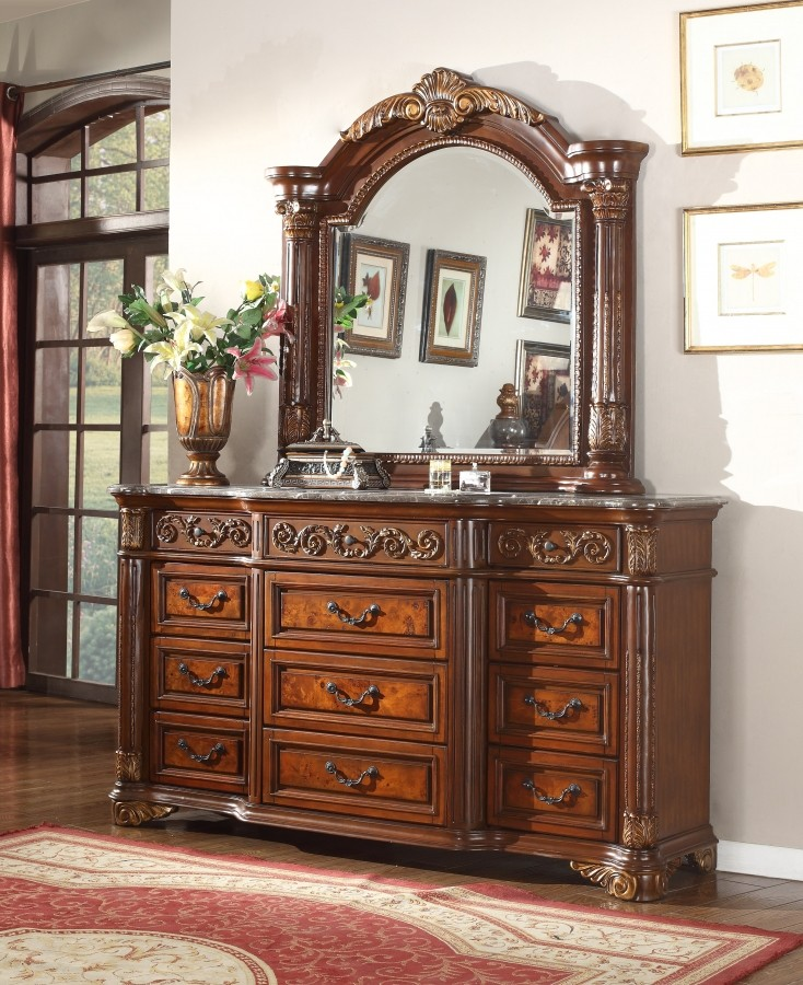 Royal Panel Marble Top Bedroom Set Meridian Furniture