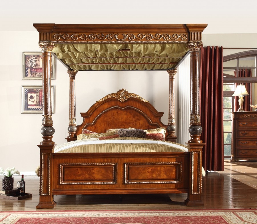Meridian Royal Post Canopy Bedroom Set in Cherry with Marble