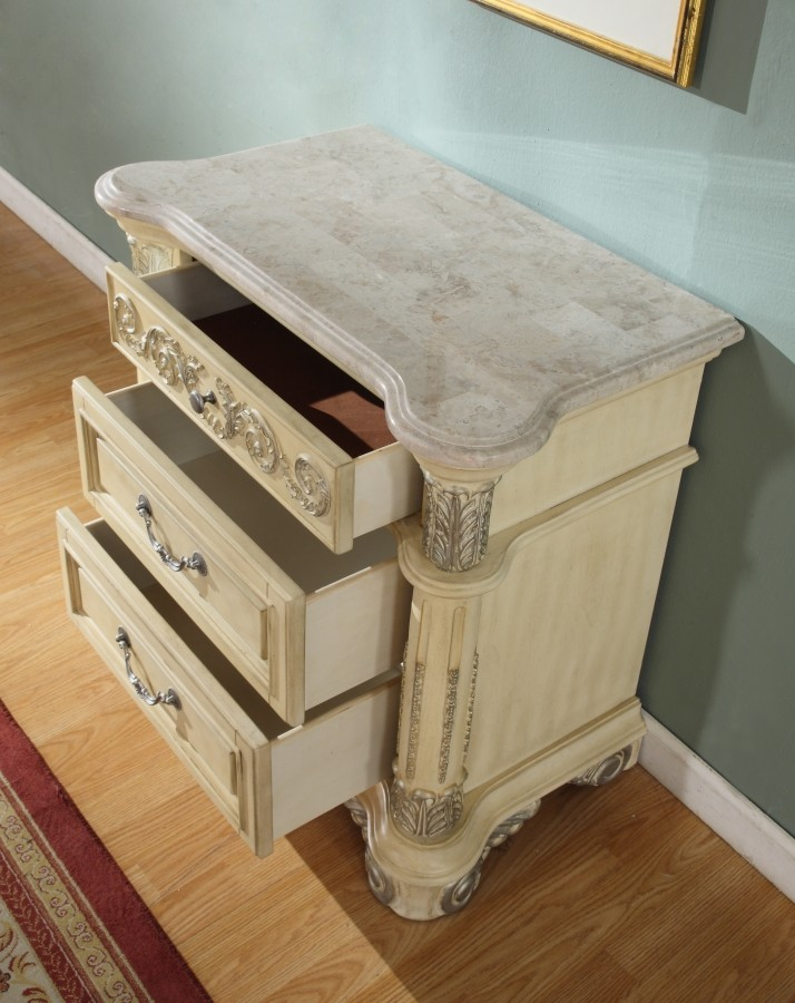 Sienna Canopy Bedroom Set In Antique White Finish