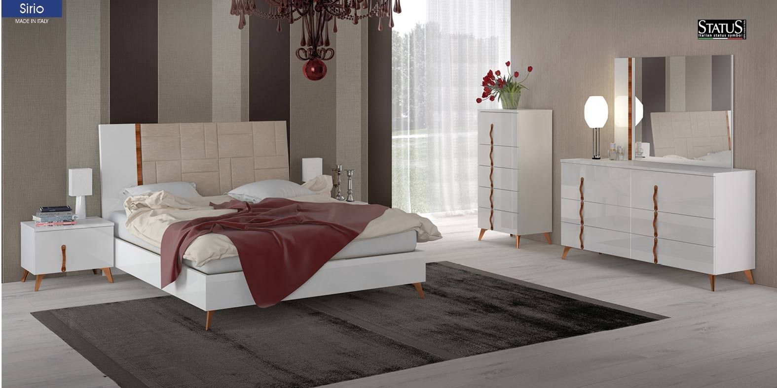Sirio Modern Bedroom Set in White Italian Finish