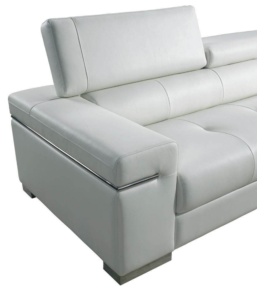 J&M Soho Modern Sofa Loveseat Set in White Leather