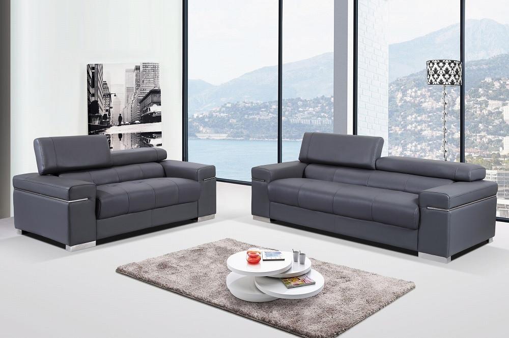 Soho Living Room Set in Grey Modern Leather