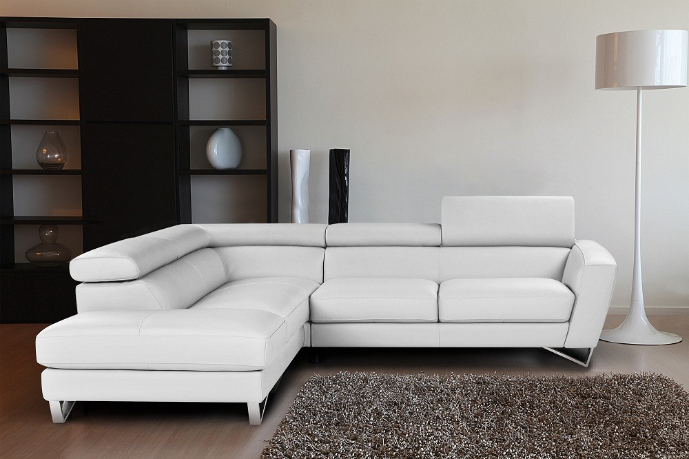 Sparta Italian Leather Sectional Sofa In White Color