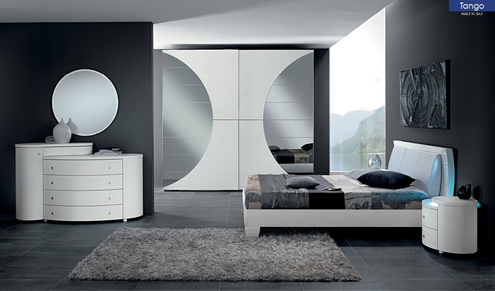 Tango Bedroom Set In White Finish And Led Lights
