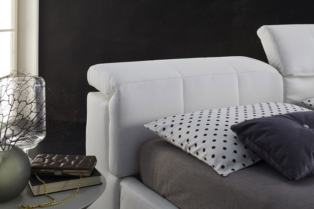 Tower Italian Storage Bed In White Leather By J Amp M Furniture
