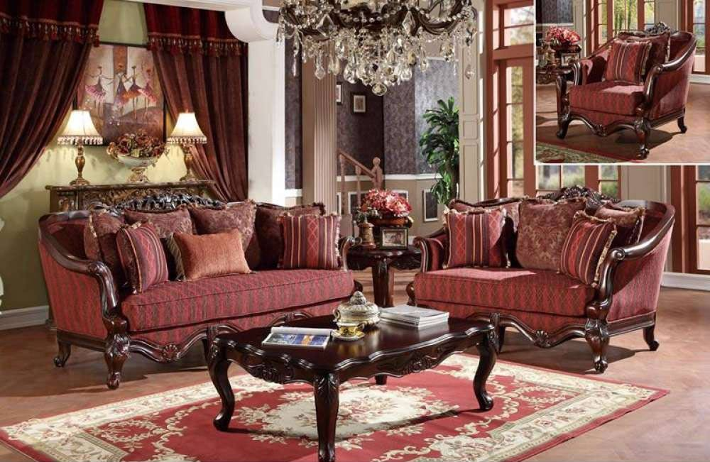 U2300 Living Room Set in Red Traditional Fabric