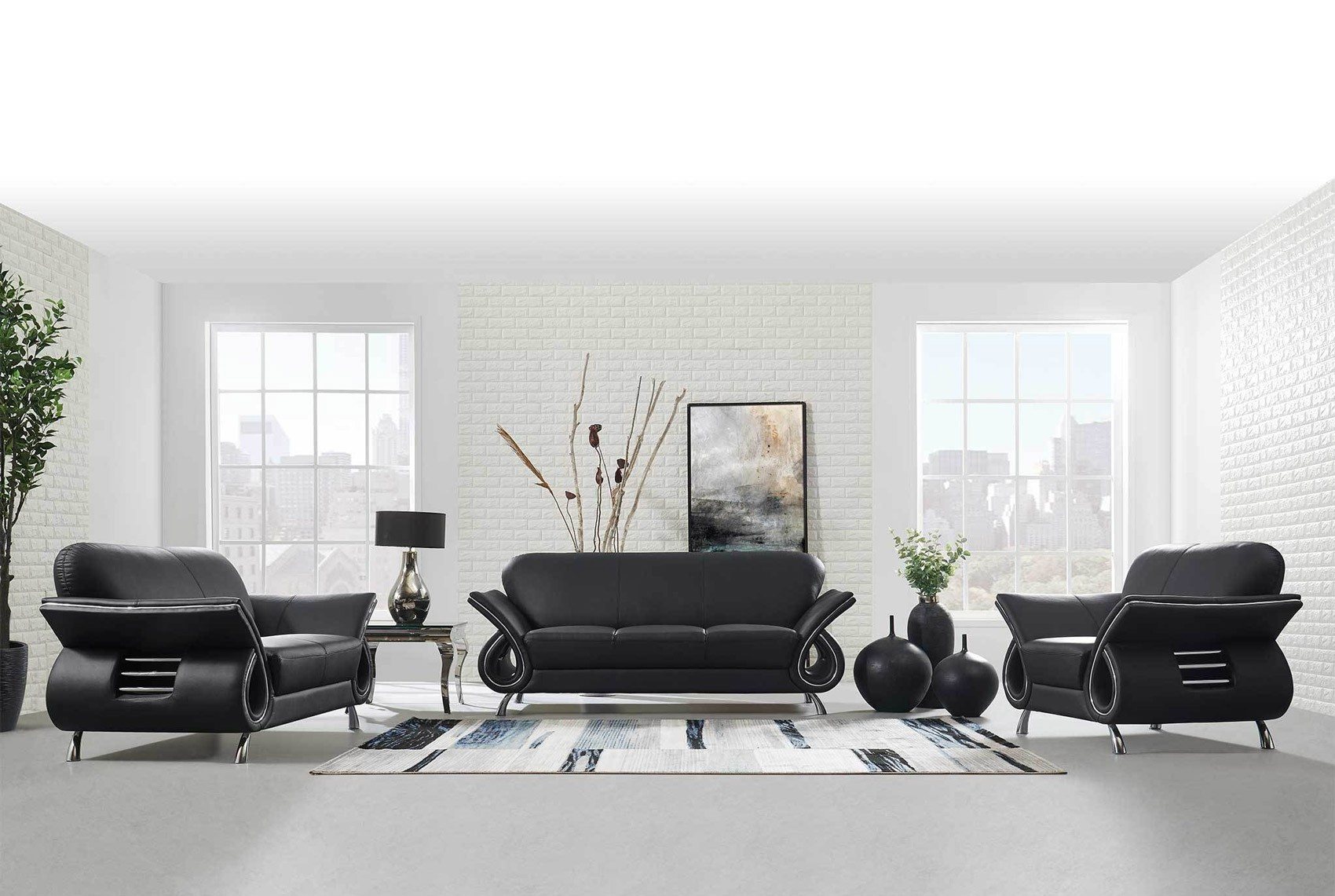 U559 Living Room Set in Black Leather by Global