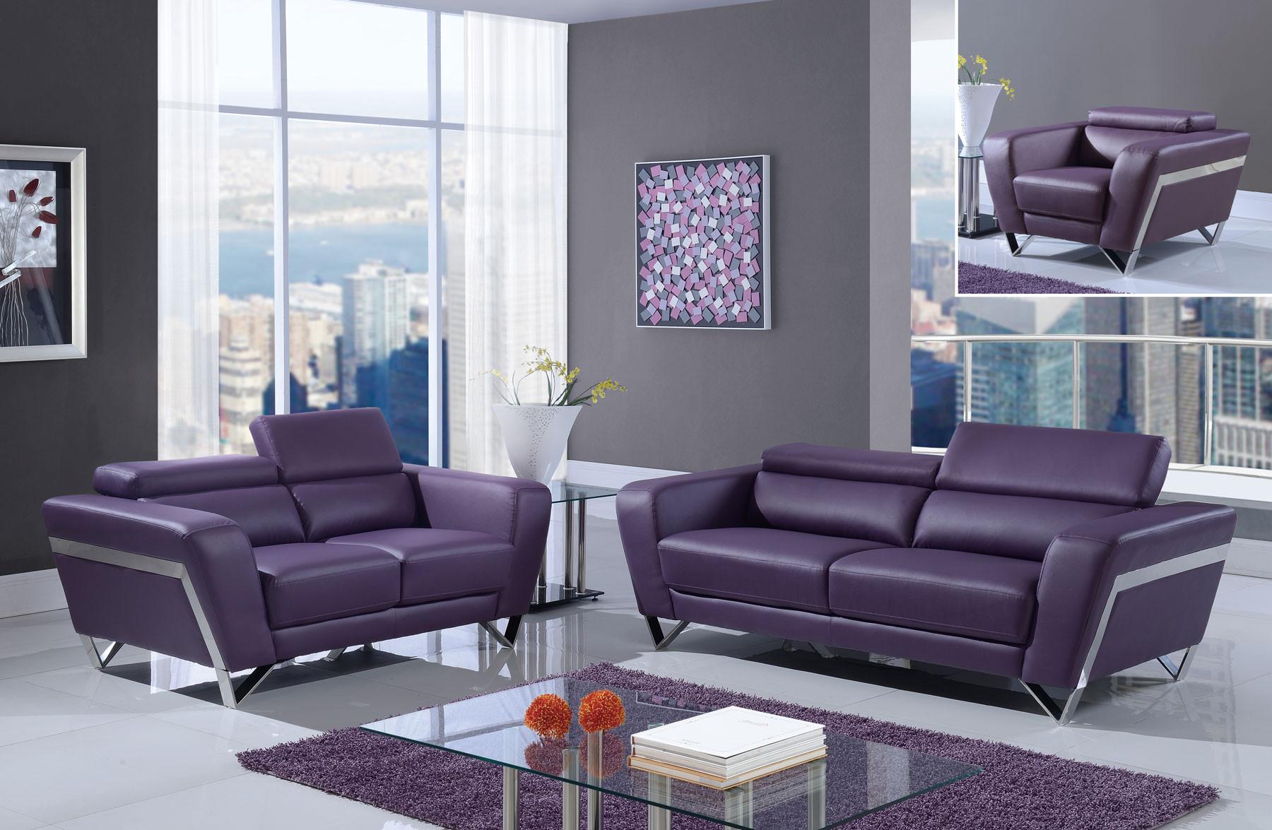 Purple Leather Living Room Set U7120