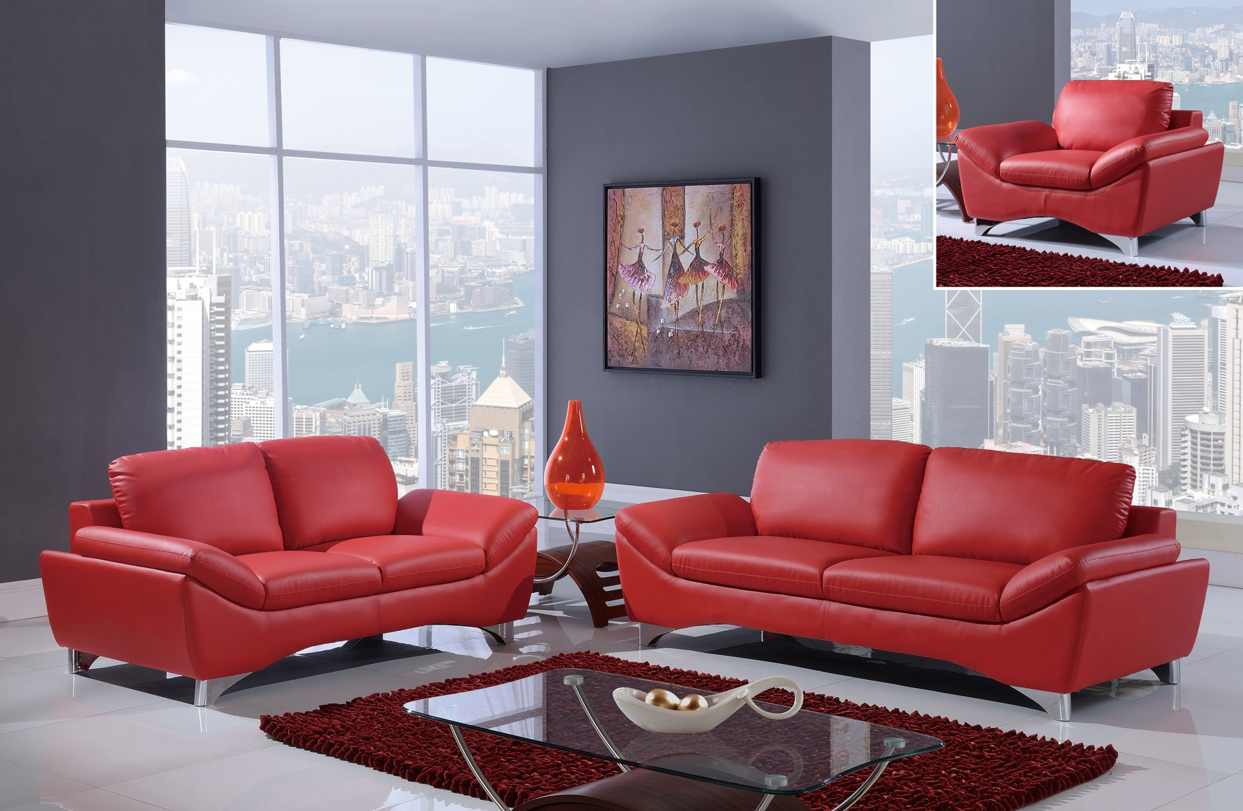 marvelous red leather living room furniture | UR7140 Global Furniture Modern Red Leather Living Room Set