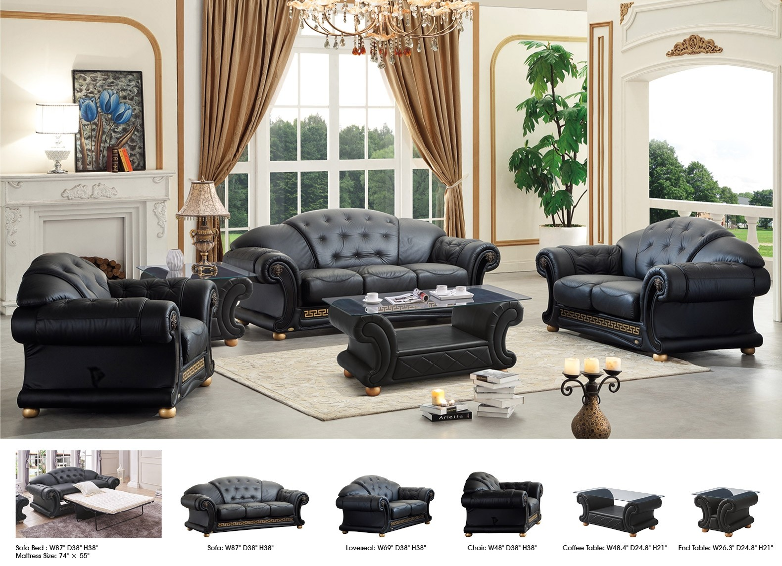 Living Room Set In Black Italian Leather