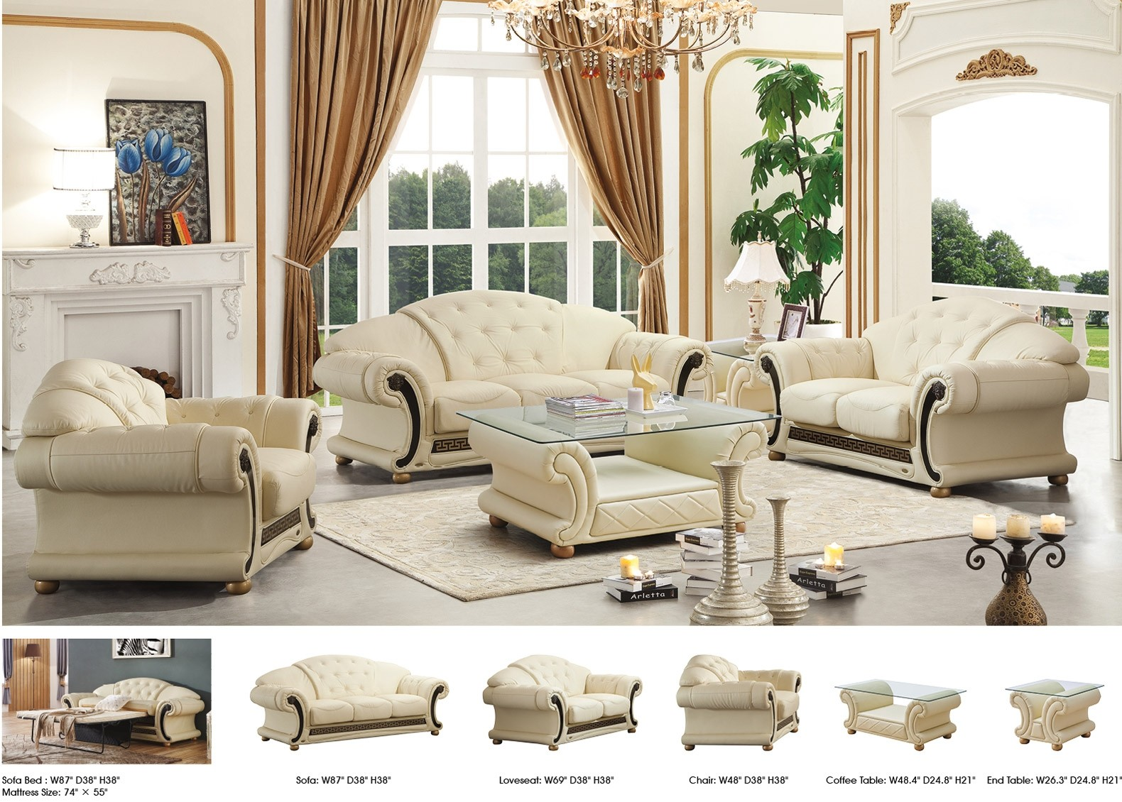 Apolo Living Room Set In Ivory Italian Leather By Esf Furniture