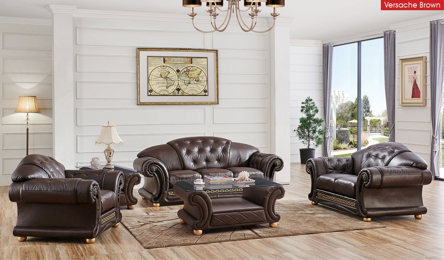 Versace Living Room Set in Brown Italian Leather by ESF