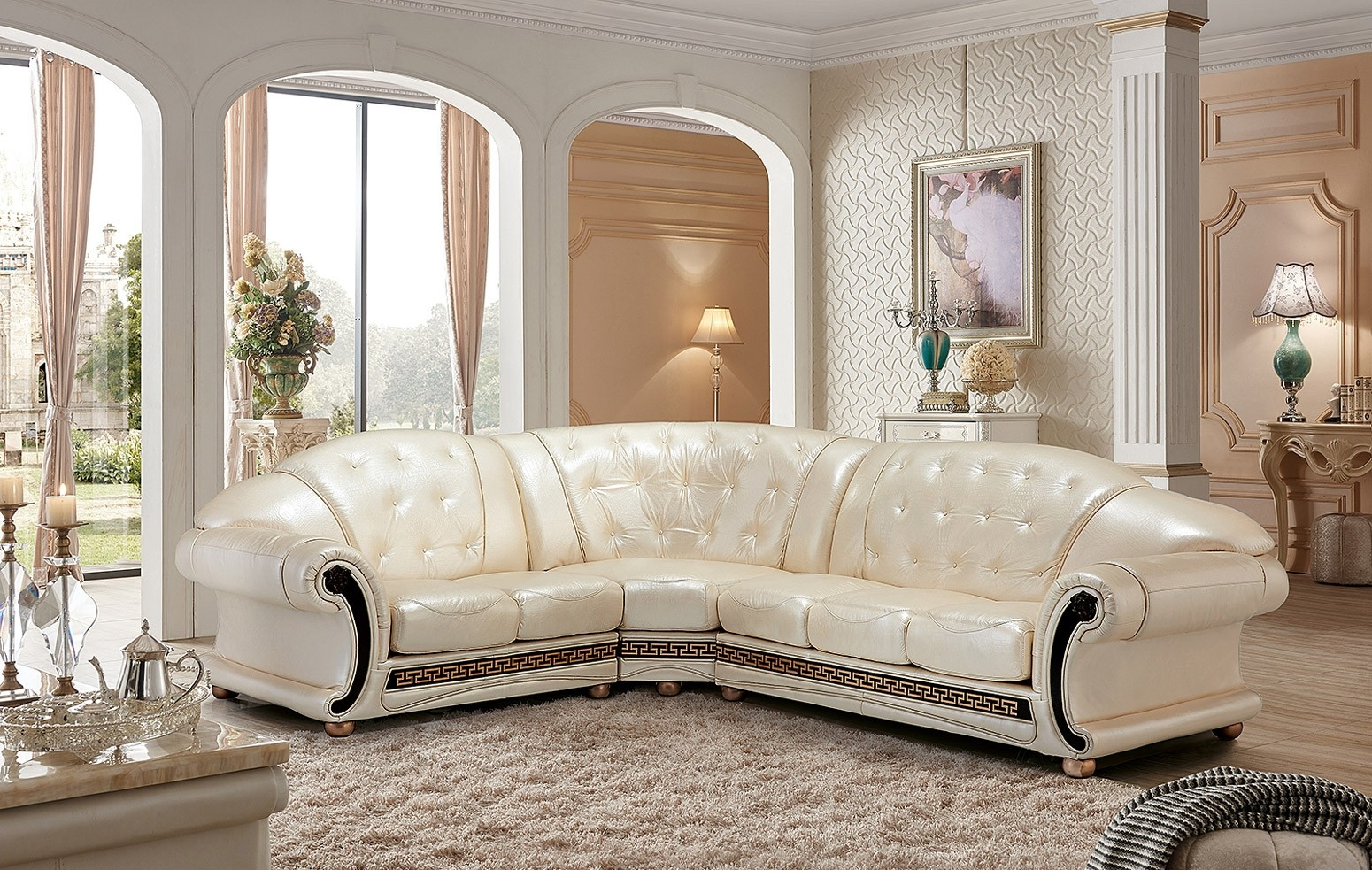 Apolo Sectional Sofa in Pearl Italian Leather