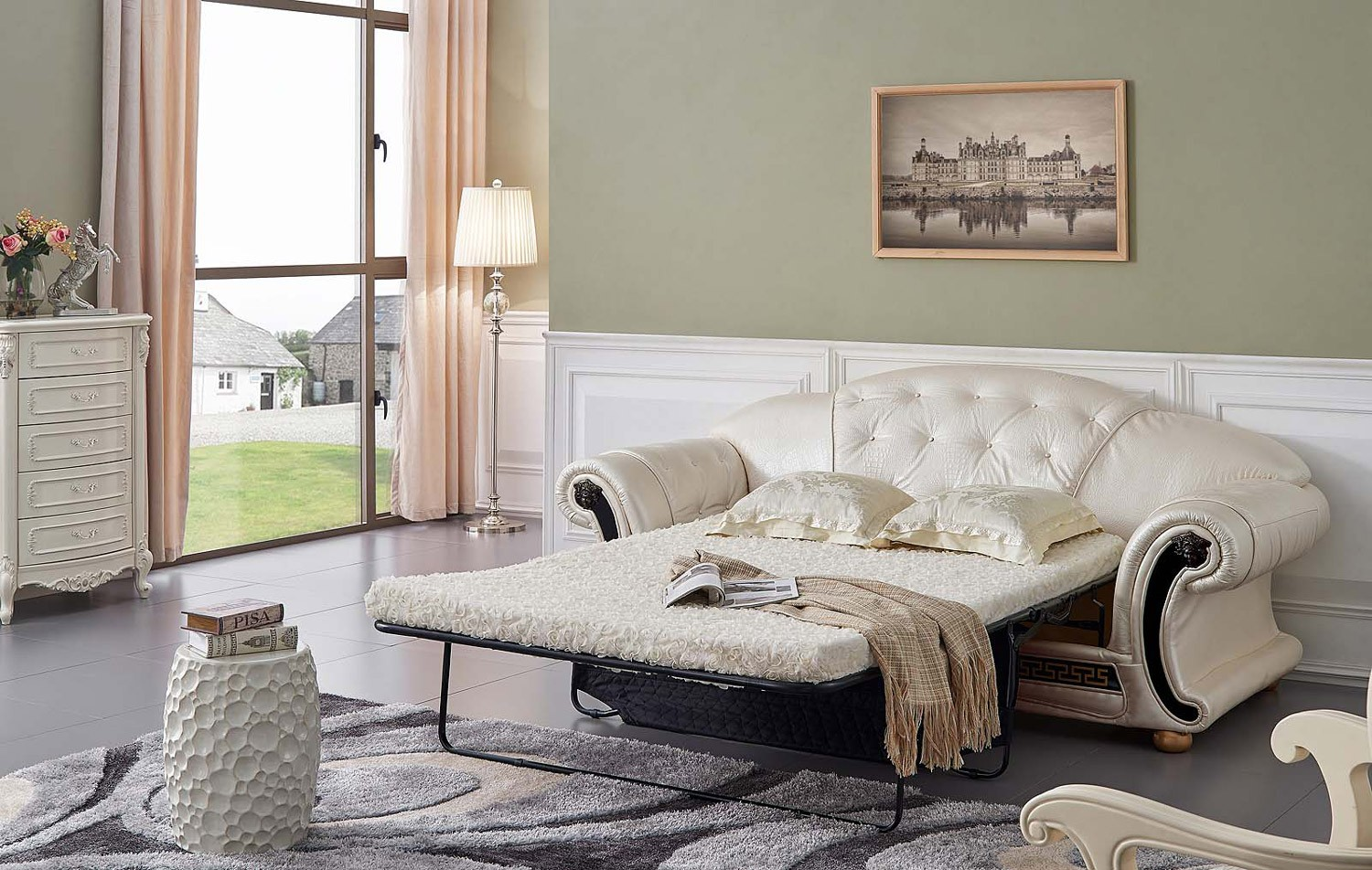 esf apolo classic living room set in pearl italian leather