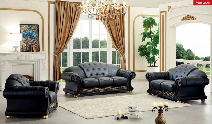 Apolo Living Room Set in Black Italian Leather
