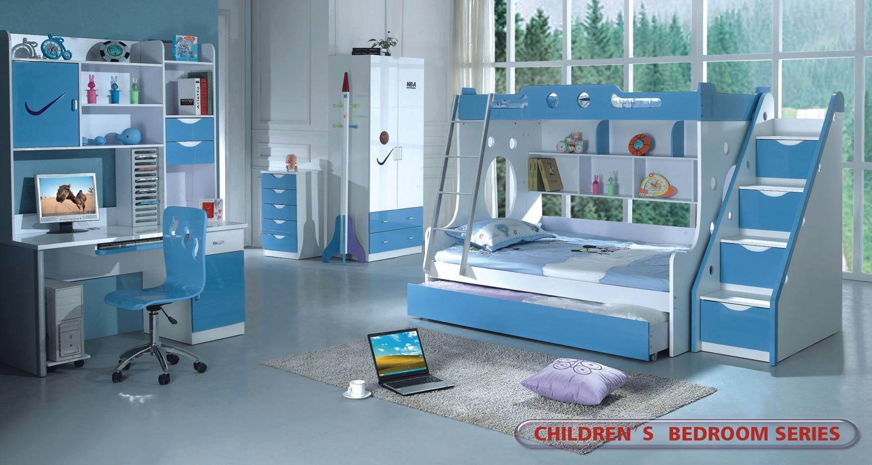 Modern Kids Furniture Boys Twin Full Bunk Bed 100b2