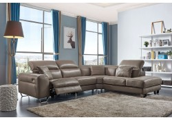 468 Sectional Sofa Brown Leather with Power Recliner