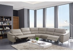 951 Reclining Sectional Sofa in Light Grey Leather